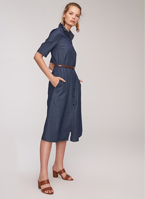 People By Fabrika Puantiyeli Gömlek Elbise Lacivert